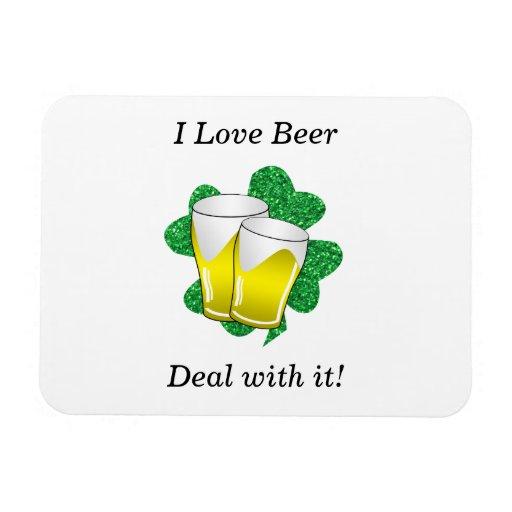 I love beer deal with it shamrock rectangular magnet
