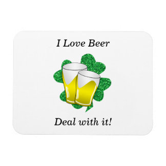 I love beer deal with it shamrock rectangular photo magnet