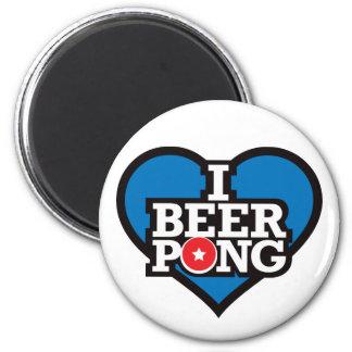 I Love Beer Pong - Blue Refrigerator Magnet