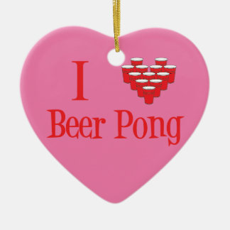 I Love Beer Pong Christmas Ornament in Pink