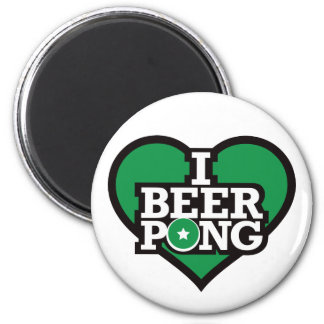 I Love Beer Pong - Green 6 Cm Round Magnet