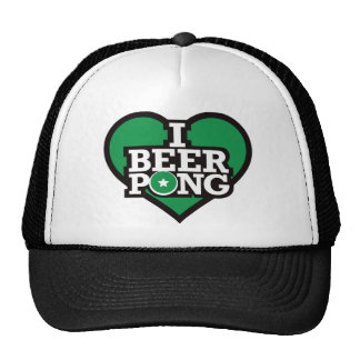 I Love Beer Pong - Green Mesh Hat