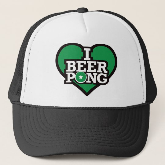 I Love Beer Pong - Green Trucker Hat