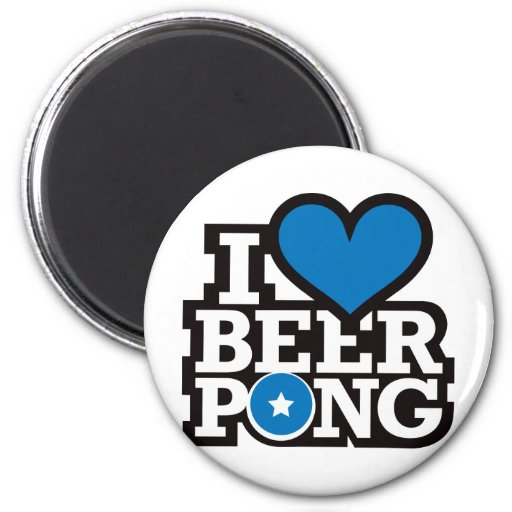 I Love Beer Pong v2 - Blue Magnets