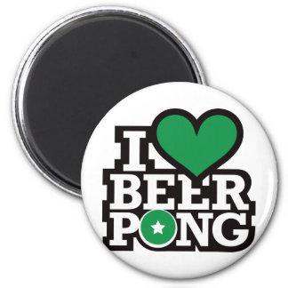 I Love Beer Pong v2 - Green 6 Cm Round Magnet