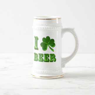 I Love Beer Shamrock St. Patrick Day stein