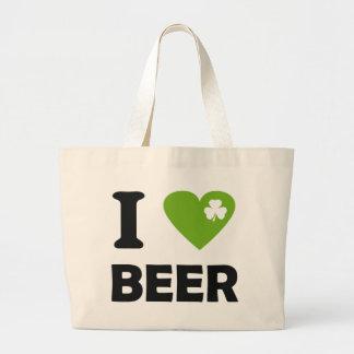 I love beer shamrock st. Patricks Day icon Jumbo Tote Bag