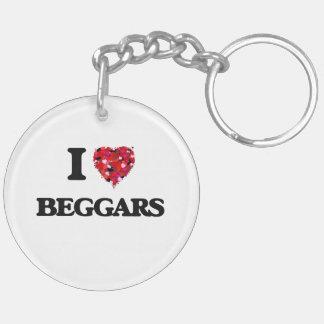 I Love Beggars Double-Sided Round Acrylic Key Ring