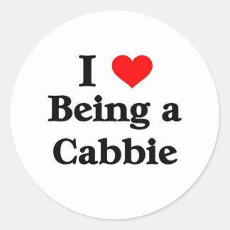 I love being a cabbie round sticker