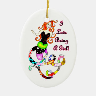 """I Love Being A Girl"" Mermaid Christmas Ornament"