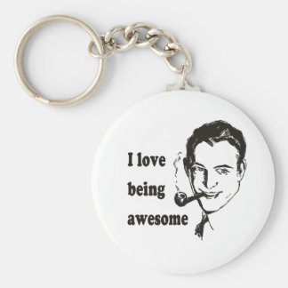I Love Being Awesome Basic Round Button Key Ring