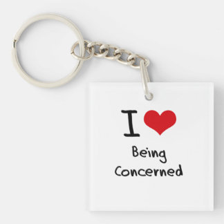 I love Being Concerned Double-Sided Square Acrylic Key Ring