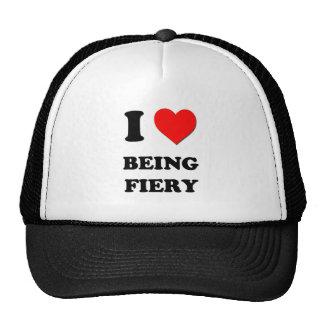 I Love Being Fiery Mesh Hats