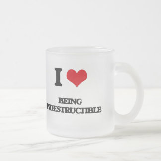 I Love Being Indestructible Frosted Glass Mug