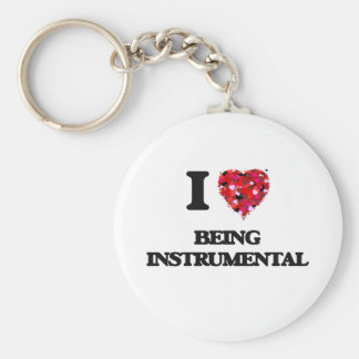 I Love Being Instrumental Basic Round Button Key Ring