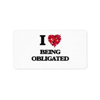 I Love Being Obligated Address Label