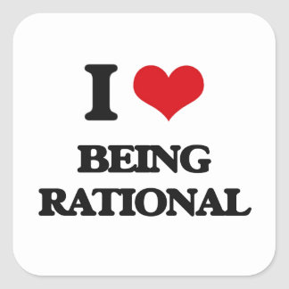 I Love Being Rational Square Stickers