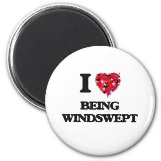 I love Being Windswept 6 Cm Round Magnet