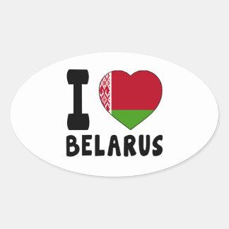 I Love Belarus Oval Sticker