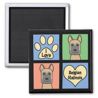 I love Belgian Malinois Square Magnet