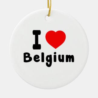 I Love Belgium. Round Ceramic Decoration