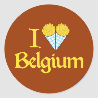 I Love Belgium Round Sticker
