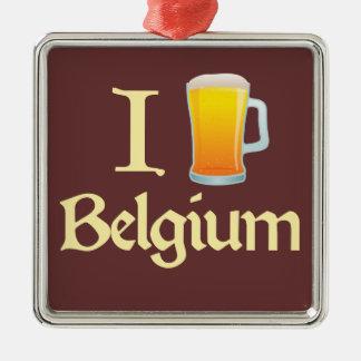 I Love Belgium Silver-Colored Square Decoration