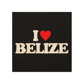 I LOVE BELIZE WOOD WALL ART