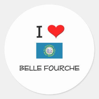 I Love Belle Fourche South Dakota Round Stickers