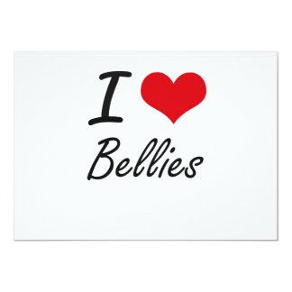 I Love Bellies Artistic Design 13 Cm X 18 Cm Invitation Card