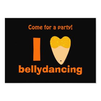 I Love Bellydancing Dancer Torso (I Heart) 13 Cm X 18 Cm Invitation Card