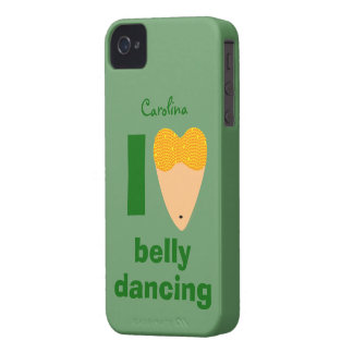 I Love Bellydancing Whimsical Dancer Custom Name iPhone 4 Covers