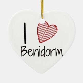I Love Benidorm Ceramic Heart Decoration