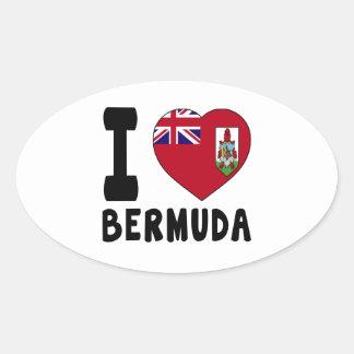 I Love BERMUDA Oval Sticker
