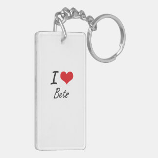 I Love Bets Artistic Design Double-Sided Rectangular Acrylic Key Ring