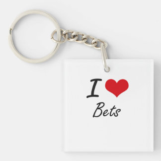 I Love Bets Artistic Design Single-Sided Square Acrylic Key Ring