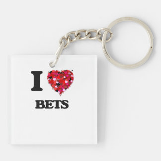 I Love Bets Double-Sided Square Acrylic Key Ring