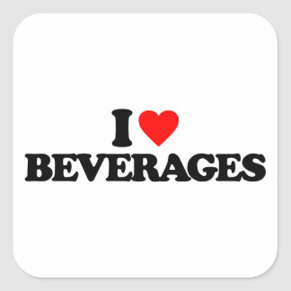 I LOVE BEVERAGES SQUARE STICKERS