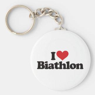 I Love Biathlon Basic Round Button Key Ring