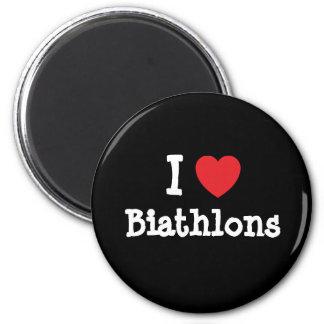 I love Biathlons heart custom personalized 6 Cm Round Magnet