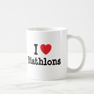 I love Biathlons heart custom personalized Basic White Mug