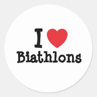 I love Biathlons heart custom personalized Round Sticker
