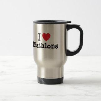I love Biathlons heart custom personalized Stainless Steel Travel Mug