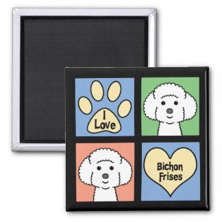 I Love Bichon Frises Square Magnet