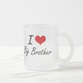 I Love Big Brother Artistic Design Frosted Glass Mug