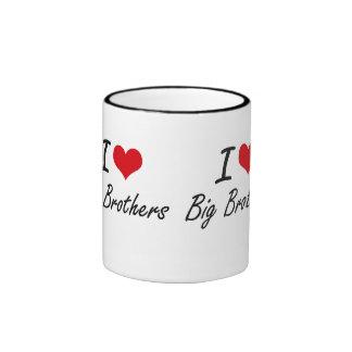 I Love Big Brothers Artistic Design Ringer Mug