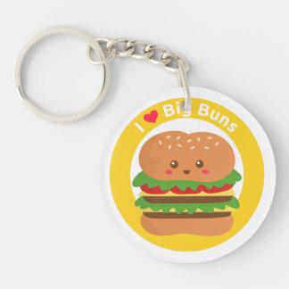 I Love Big Buns, Kawaii Big Burger Double-Sided Round Acrylic Key Ring
