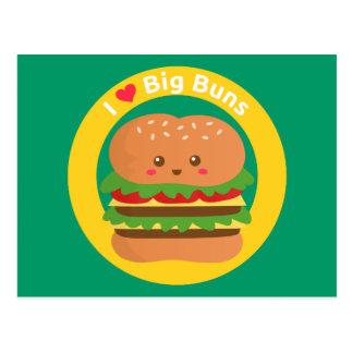 I Love Big Buns, Kawaii Big Burger Postcard