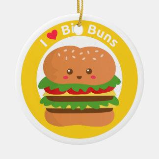 I Love Big Buns, Kawaii Big Burger Round Ceramic Decoration