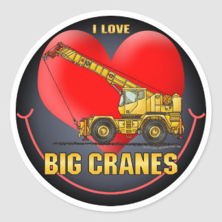 I Love Big Cranes Kids Sticker
